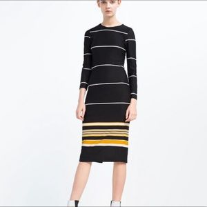 Zara Stripped Midi Dress Black and Mustard